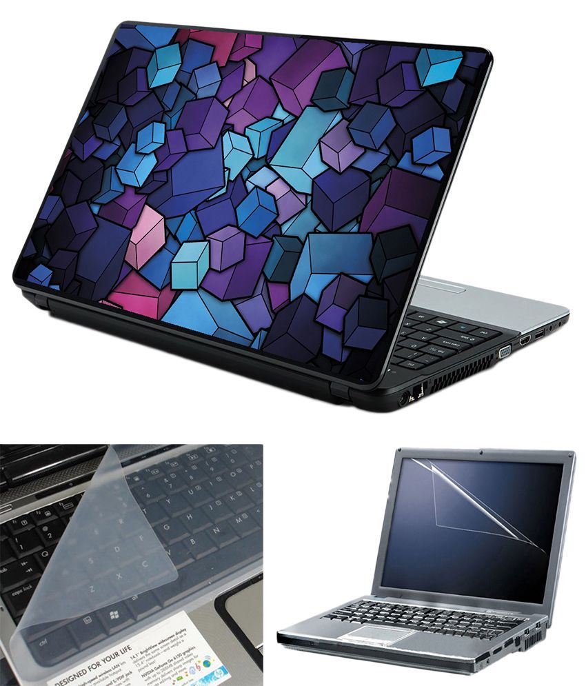 Finearts 3 In 1 Laptop Skin Pack - Blue Cubes With Screen Guard And