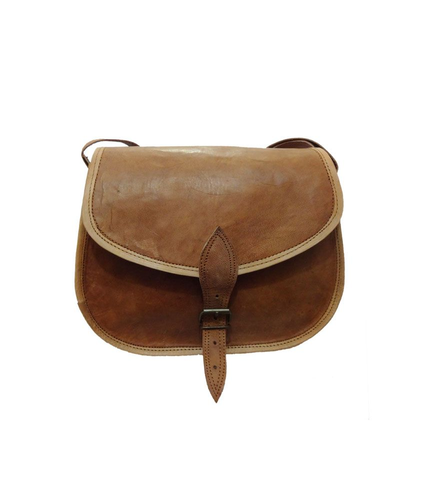 M&d Brown Leather Sling Bag - Buy M&d Brown Leather Sling Bag ...