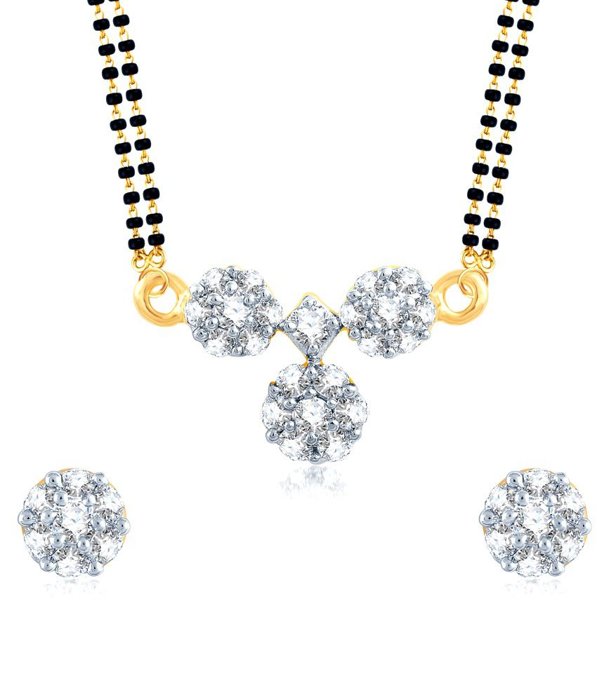 Meenaz Ashtoning Traditional Wati Gold And Rhodium Plated Cz Mangalsutra Set