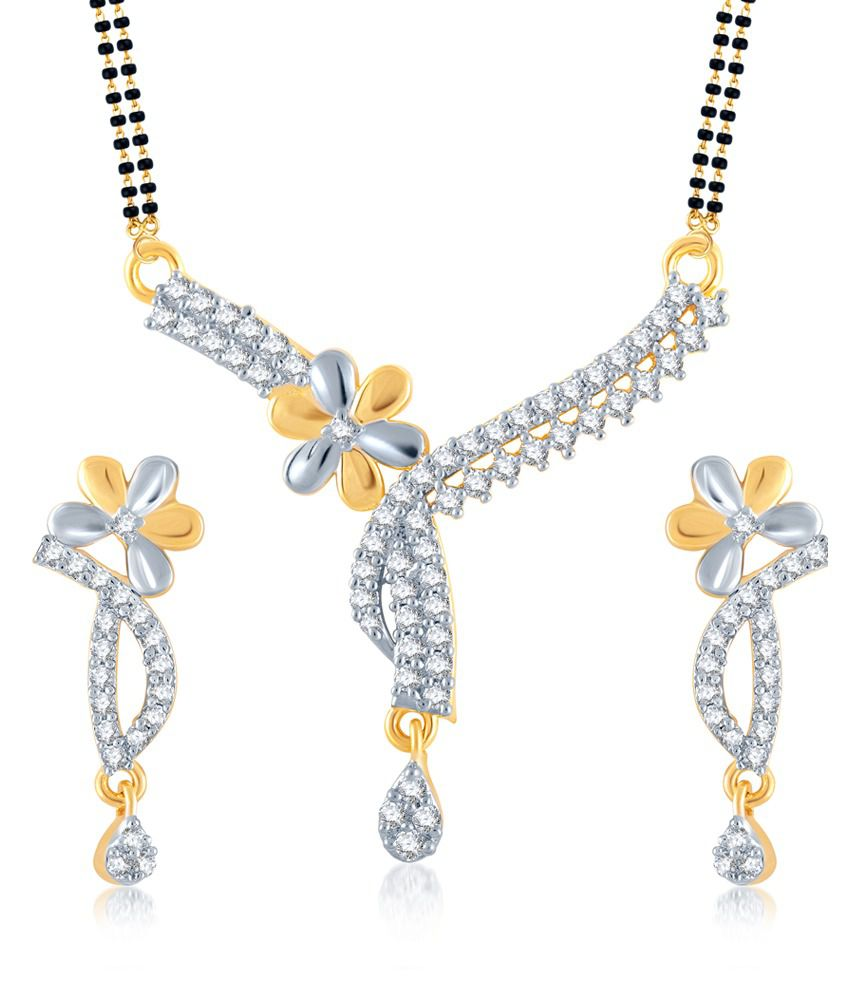 Meenaz Divine Sacred Gold And Rhodium Plated Cz Mangalsutra Set