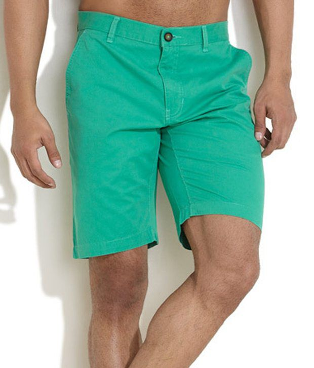 SCULLERS SPORT Green Cotton Solids Shorts