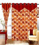 Cortina Brown Floral Polyester Door Curtain (2 Pcs)