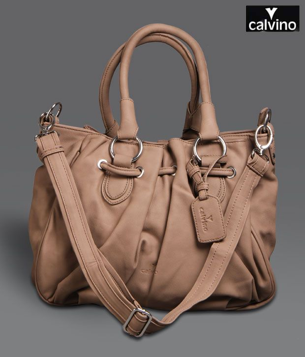 Calvino Brown Drawstring Handbag