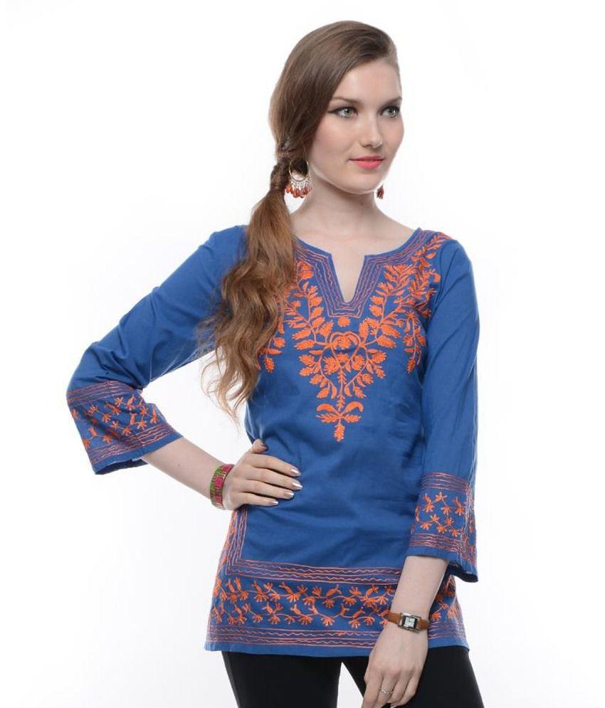 Myra Blue Embroidered Cotton Short Kurti