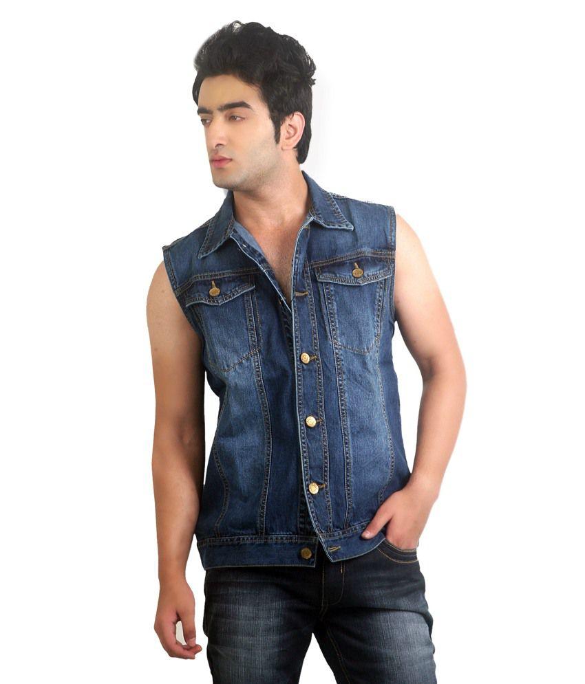 latest design sale uk thoughts on Ripfly Blue Denim Sleeveless Jacket For Men