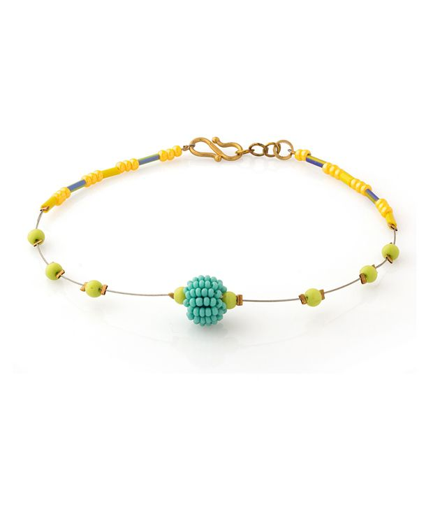 Voylla Anklet With Yellow And Green Colored Beads