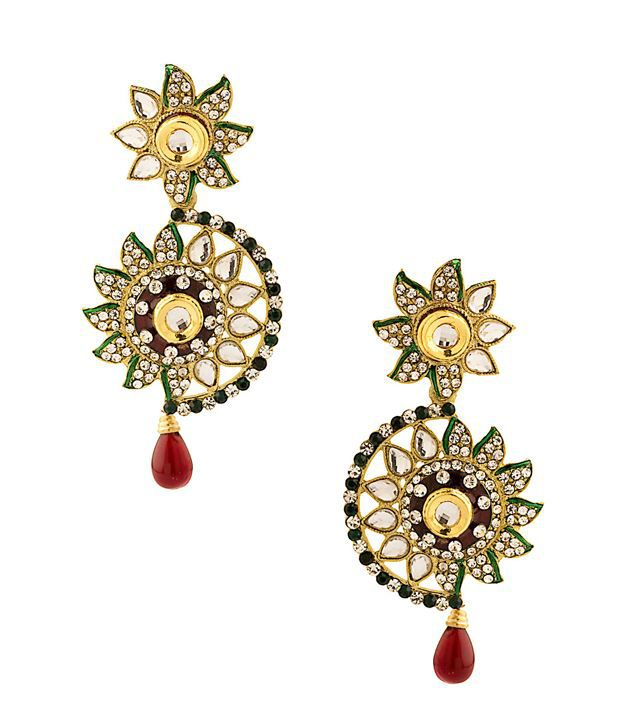Voylla Beautiful Flower Shaped Danglers Decorated With Crystals