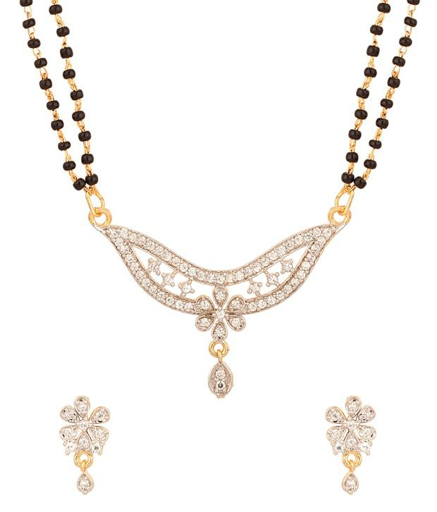 Voylla Double Chain Mangalsutra With Crescent Shaped Pendant