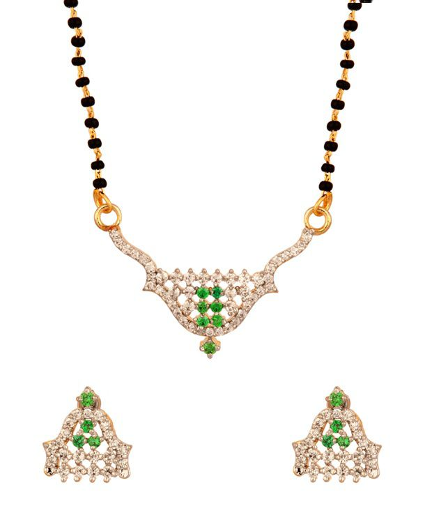 Voylla Gold Plated Single String Green Cz Studded Mangalsutra Set