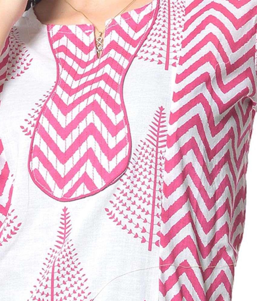White And Pink Combination Cotton Kurti