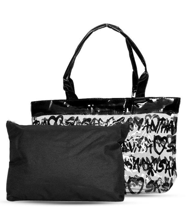 1 Bolzo Fashionable Black Tote Bag & Pouch Set