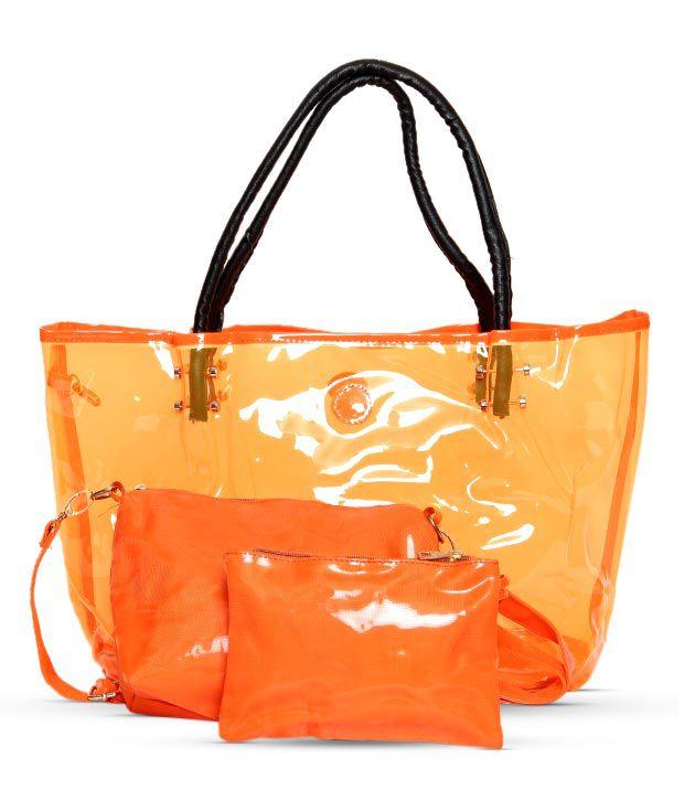 1 Bolzo Orange Tote Bag, Pouch & Sling Bag Set