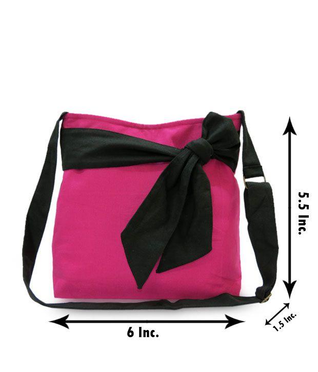 A-maze Pink & Black Knotted Design College Handbag