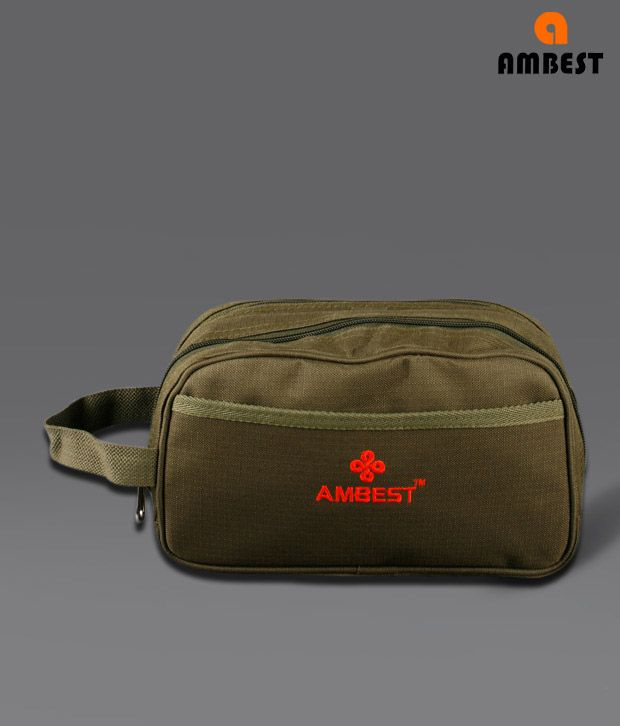 Ambest Olive Double Zipper Pouch