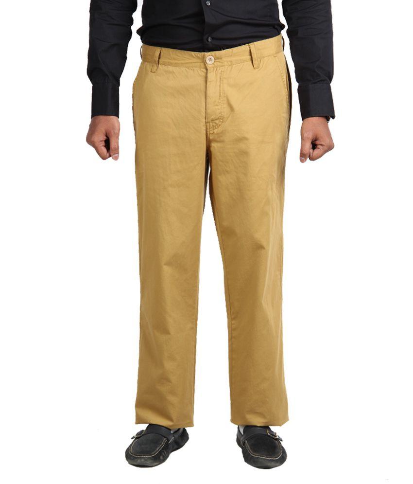 American Vintage Cotton Trouser - Regular Fit - Khaki Brown colour