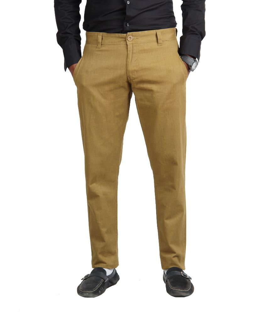 American Vintage Cotton Trouser - Slim Fit - Mustard Green colour