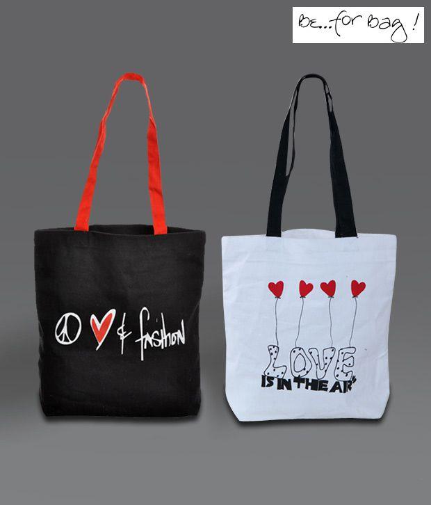 B4Bags Black & White Fashion Love Canvas Combo