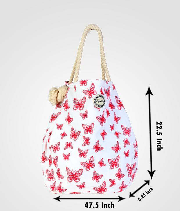Be For Bag Exciting White & Red Butterfly Print Handbag