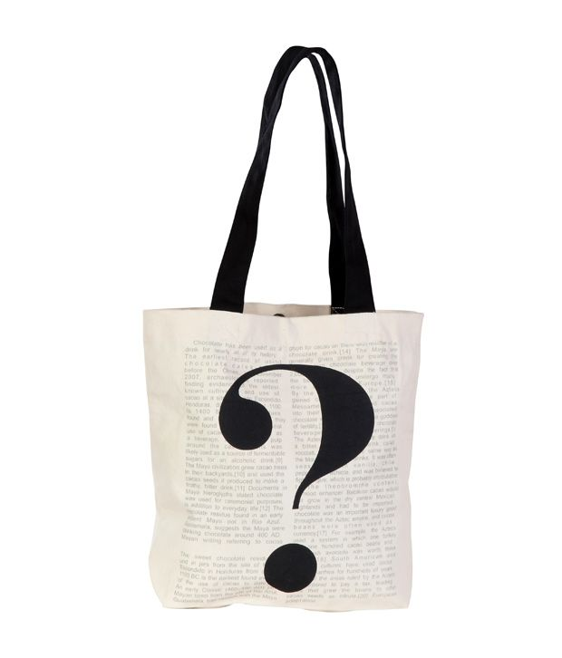 Be For Bag White & Black Question Mark Printed Handbag