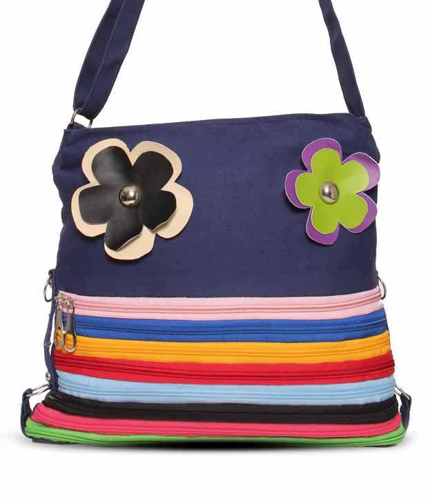 Cyndrella Blue Floral Broach Handbag