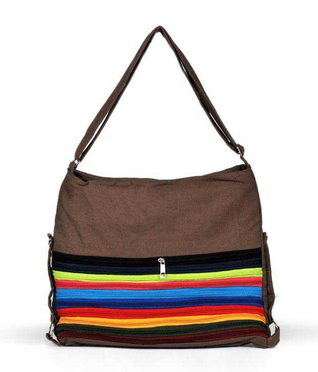 Cyndrella Brown Multi Zip Design Handbag