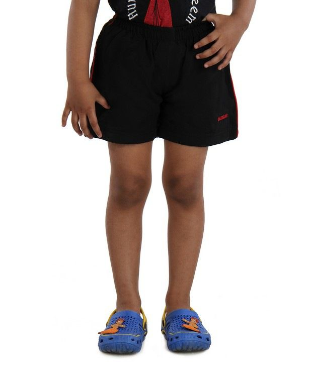 DAZZGEAR Black Color Elasticated waistband Cargo Pocket Shorts For Kids