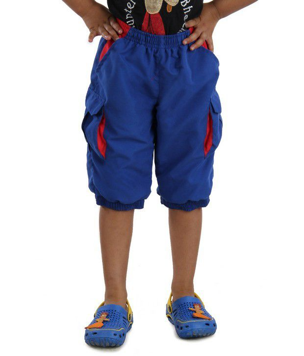 DAZZGEAR Royal Color Elasticated waistband Cargo Pocket Capri For Kids