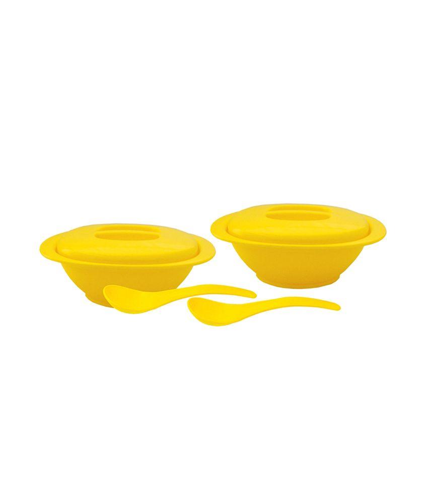 INCRIZMA Yellow Polypropylene  PP  Serving Bowl W/Spoons  6 Pcs