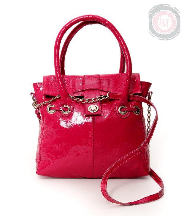 JM Peppy Pink Textured Finish Handbag