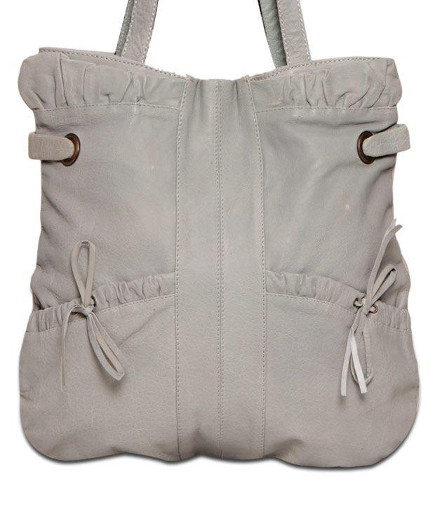 JM Trendy Ash Grey Textured Finish Handbag