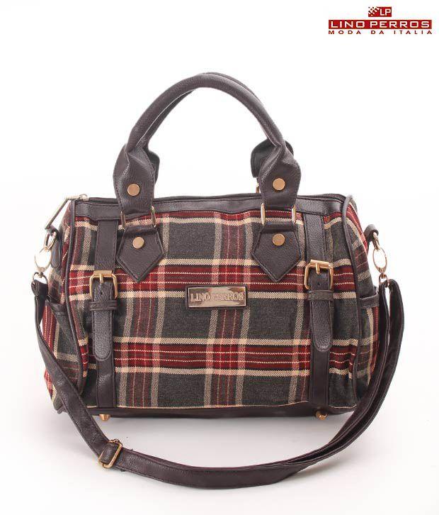 Lino Perros Black and Red Plaid Handbag