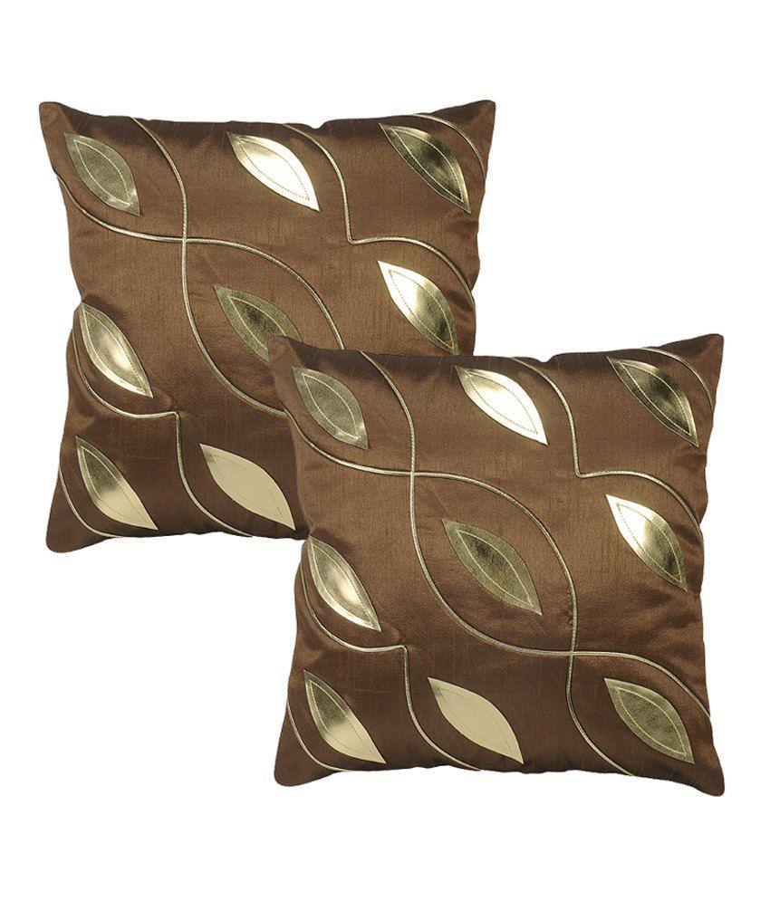 Rajrang Polydupion Designer Cushion Covers - (16 X 16 Inches) (Set of 2 Pcs)