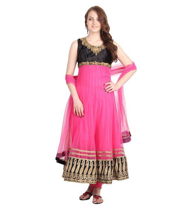 Asma Pink Handcrafted Net Stitched Anarkali  Salwar Suit