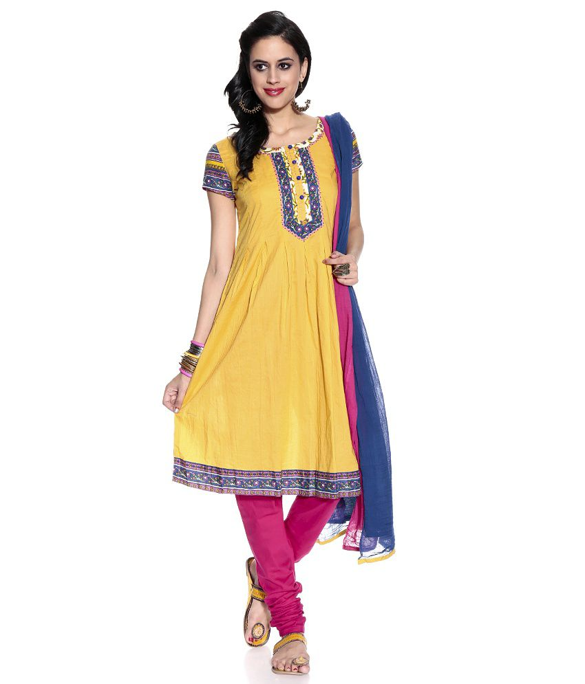 Global Desi Yellow Embroidered Cotton Stitched Anarkali  Salwar Suit