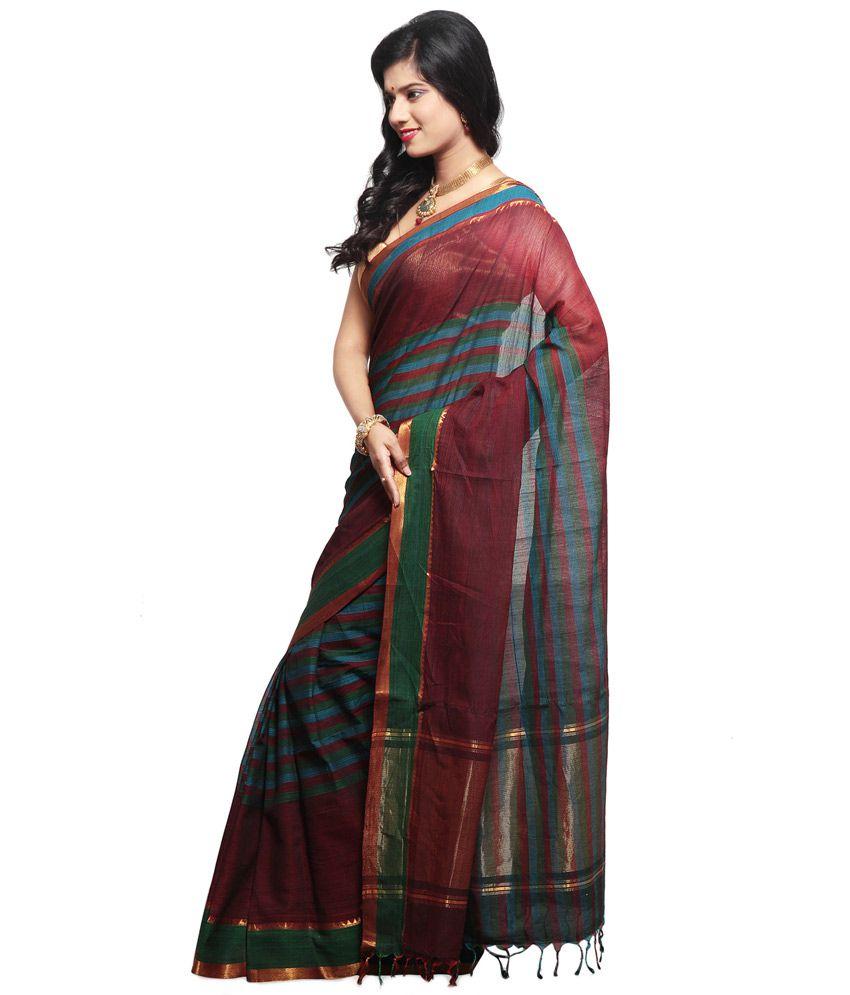 Mangalagiri Devi Saree Maroon Cotton Saree