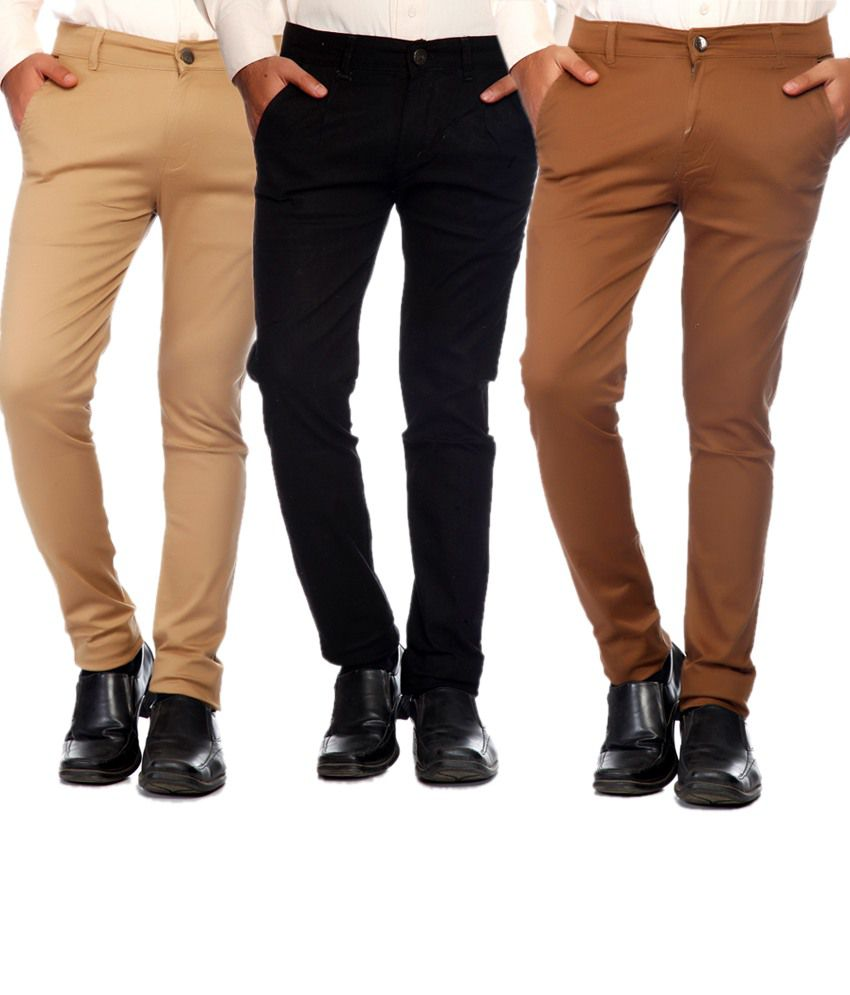 Sam & Jazz Combo Of 3 Multi   Color Cotton Strechable Chinos For   Men's