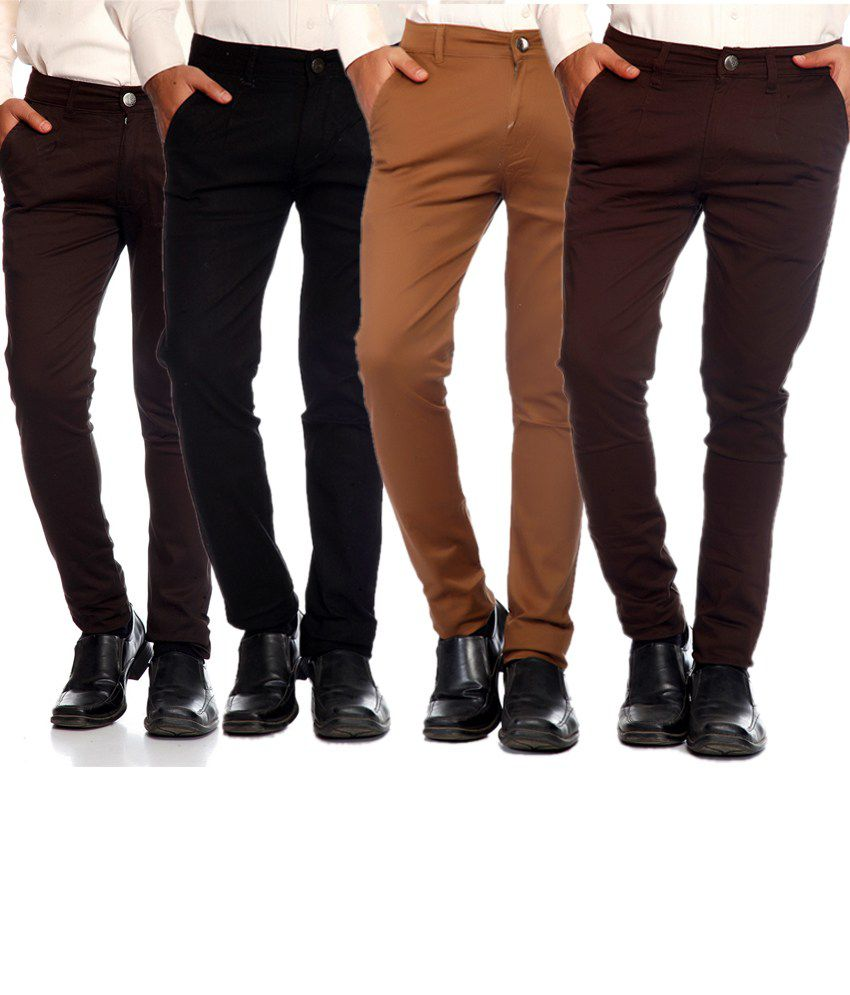 Sam & Jazz Combo Of 4 Multi   Color Cotton Strechable Chinos For   Men's