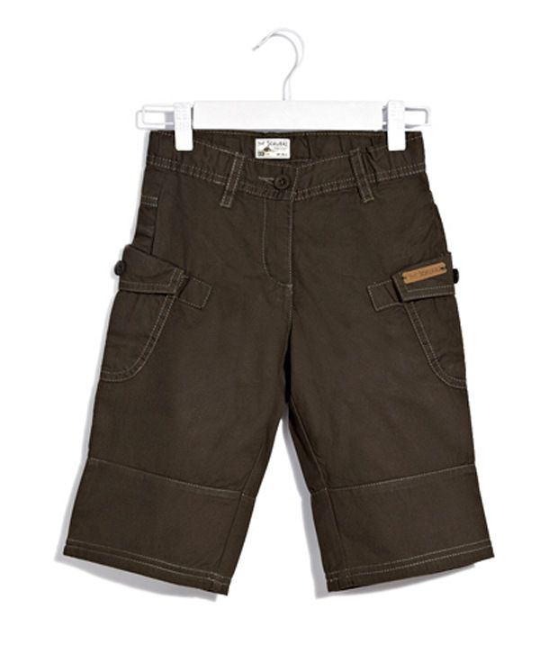 Scullers Kids Olive green Trekking And Camping Explorer Shorts For Girls