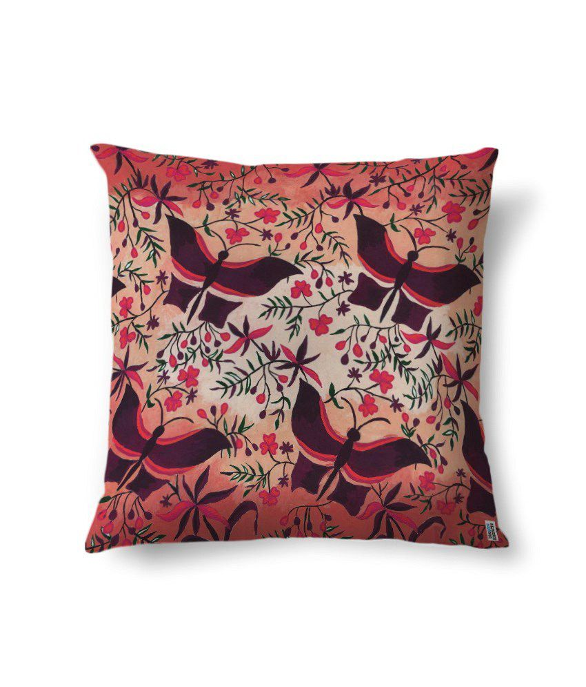 bluegape Red Butterflies Digitally Printed Cushion Cover 1 Piece