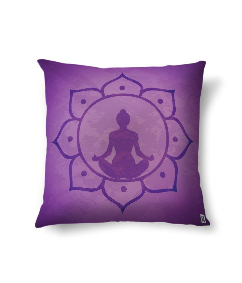bluegape Buddha Meditation Purple Digitally Printed Cushion Cover 1 Piece