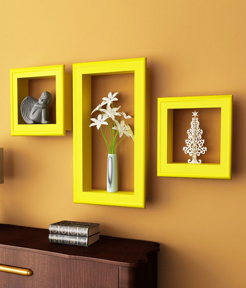 Home Sparkle Yellow Wood Set Of 3 Floating Shelf/ Wall Shelf / Book ...