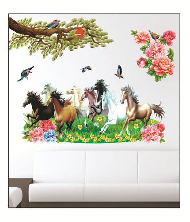 pindia multicolour 3d running horses design wall sticker - buy