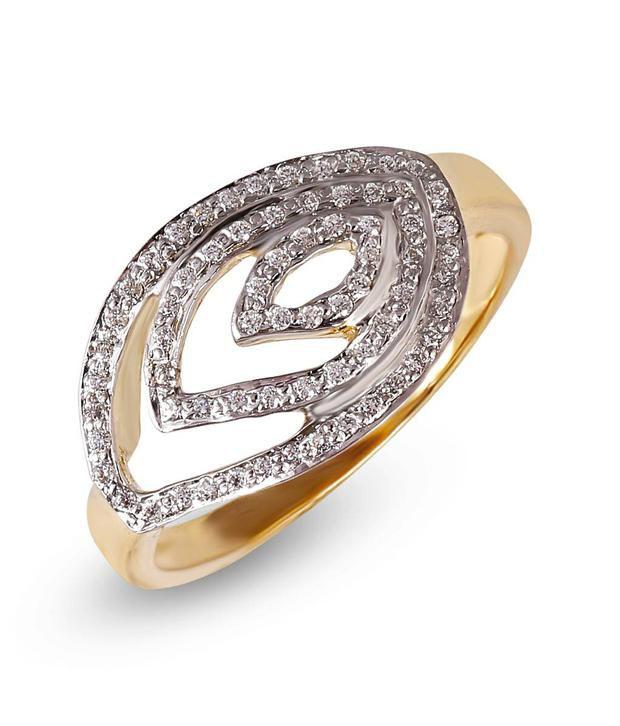 Shashvat Jewels 18KT Tri Leaf Womens Diamond Ring