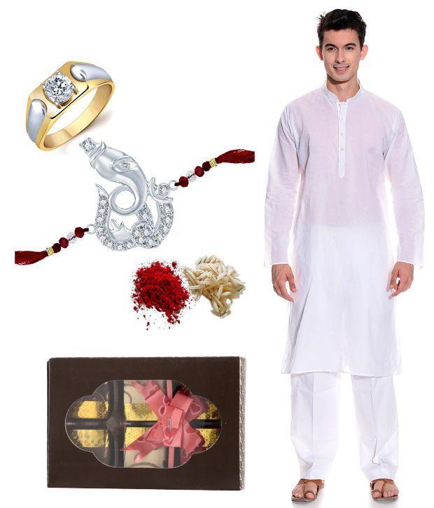 Sukkhi Appealing Combo of Men's Ring with Rakhi Roli Chawal Men's Kurta and Chocolate