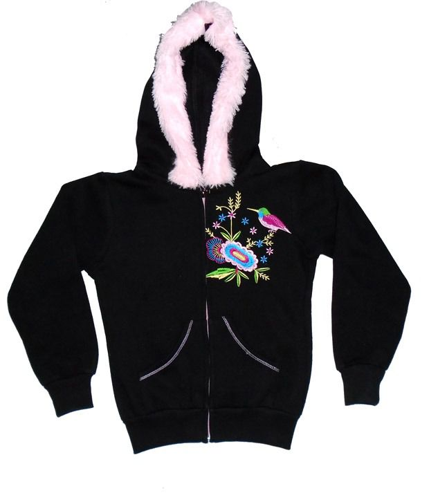 Sweet Angel Full Sleeves Black Color Embroidered Hooded Jacket For Kids