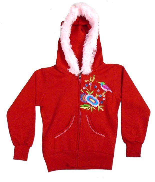 Sweet Angel Full Sleeves Red Hooded Fleeze Jacket For Kids