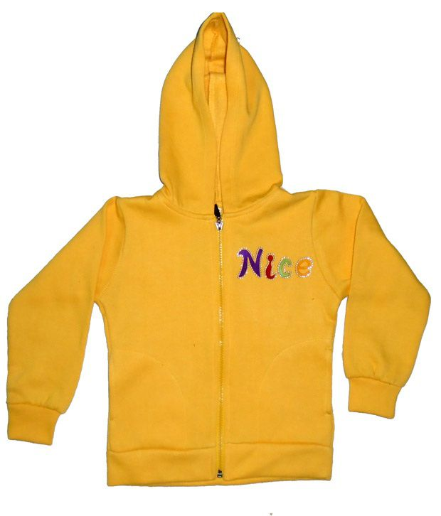 Sweet Angel Full Sleeves Yellow Color Embroidered Fleeze Jacket For Kids