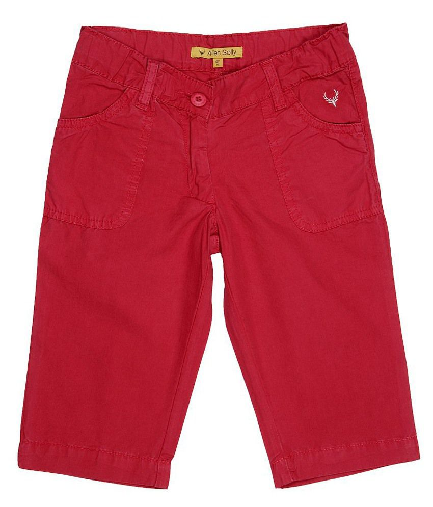 Allen Solly Red Capris  For Girls