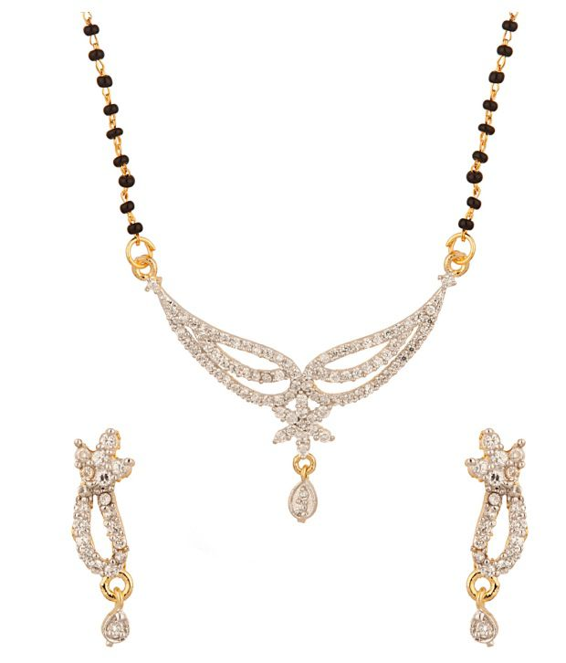 Voylla Gold Plated Single Chain Mangalsutra Set