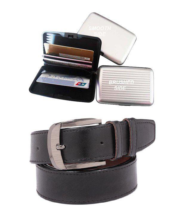 ZION Men's Exclusive Black Belt With Card Wallet